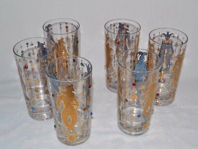 6 VTG Mid Century Mod Harlequin Gold Aqua Inside Out Tumblers Atomic & Jeweled!!
