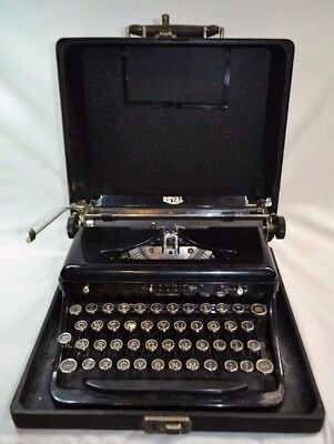 Antique ROYAL Typewriter Touch Control Portable Model O w/ Case 1930s Glass Keys