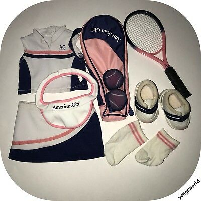 Pleasant Company American Girl 2005 Tennis Outfit Shoes Shirt Ball Racket Lot