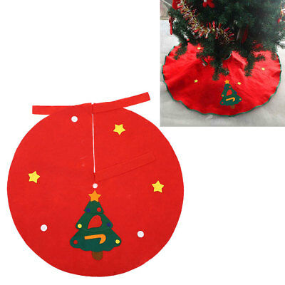 Red 90CM Non-Woven Christmas Tree Skirt Aprons Wave Edge Xmas Decor Ornament