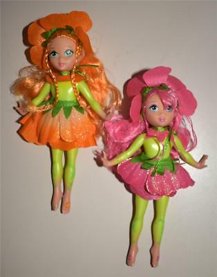 2 Mattel Barbie Fairytopia Petal Pixies Dolls 2004 ~ Excellent!