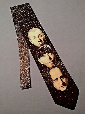 Vintage 1996 Ralph Marlin THREE STOOGES Neck Tie Larry Moe & Curly Comedy Produc