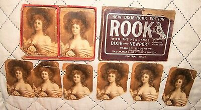Old Pat.Mar.22, 1910 Dixie Newport ROOK Card Game Portrait Back Parker Bros. AND