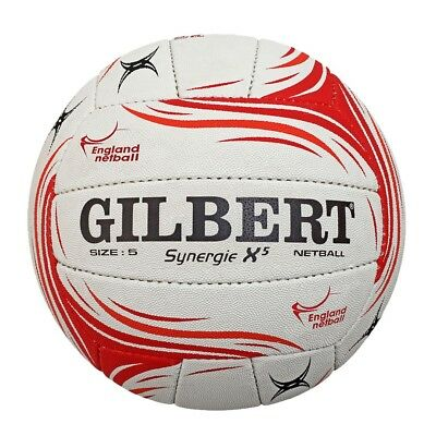 Gilbert Synergie X5 Netball - White/Red - Size 5