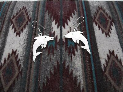 Vintage Sterling Silver Dolphin Porpoise Earrings Marine Fish Heavy Cutout Taxco