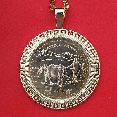 2000 Nepal 2 Rupees BU Coin GP Necklace - Farmer Plowing w. Water Buffalo - NEW