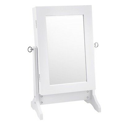 NEW Wooden Table Top Modern Jewellery Storage Cabinet with Mirror Door - White