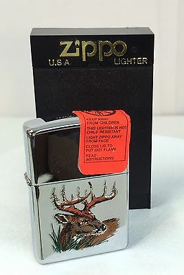 Authentic DEER BUCK Hunter's Zippo HIGH POLISHED Lighter~ NEVER USED~ Vintage