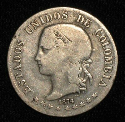 1874, 2 Decimos from Columbia.  No Reserve!