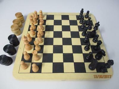 Chess & Checkers Set Board & Men Complete 29cm sq