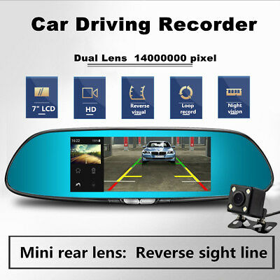 7'' HD 1080P Car DVR Android 5.0 Dual Lens Rearview Mirror Camera Recorder 170°