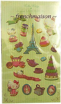 LADUREE HELLO KITTY 3D Stickers Eiffel Tower Macaron Tea Pastry New from Paris