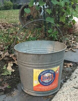 Vintage Galvanized Steel Tub Round BUCKET Handled Dover Quality Garden Decor