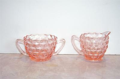 Pink Depression Glass Sugar & Creamer Bowls W/Block or Cube Pattern Jeanette