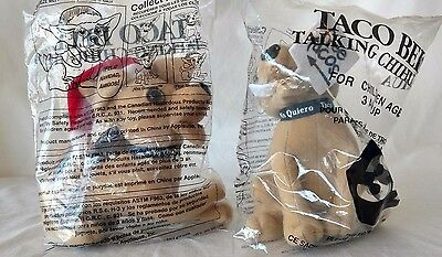 "2 Taco Bell Chihuahua's ""6 Yo Quiero Taco Bell Sealed In Bag Applause"