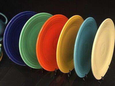 "Rare *VINTAGE* Fiesta Ware Set of 6 Luncheon Plates 9 1/2"" - SIX ORIGINAL COLORS"