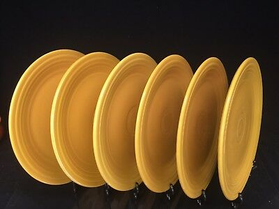 "Original *VINTAGE* Fiesta Ware Set of 6 Luncheon Plates 9 1/2"" - Yellow"