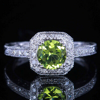 Vintage Antique Solid 14K White Gold Genuine Peridot Diamond Wedding Fine Ring