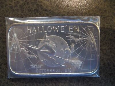 1973 October 31st Halloween 1oz 999 Silver Bar - Madison Mint