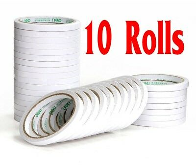 Useful 10 Rolls White Double Sided Super Strong Adhesive Tape 6mm Stationery