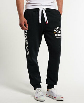 New Mens Superdry Trackster Slim Joggers Oil Black Jaspe