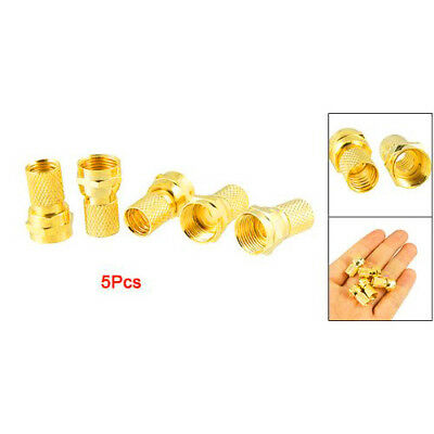 5 pcs Plated Alloy F-Type Twist-On Coaxial Cable RF Connector Plug Male L3Y4