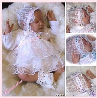 Beautiful Baby Girls 3Pce Lacy Reborn Doll Outfit ..pretty Lilac Satin Ribbons