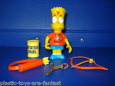 Simpsons Bart Simpsons Action Figure Bow Arrow Slingshot Gruel Complete WOS New