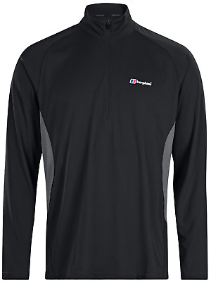 Berghaus mens gents tech tee long sleeve ZIP neck quick dry base layer top