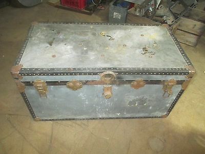 Vintage Antique Mossman London Luggage Steamer Trunk Case Chest Coffee Table