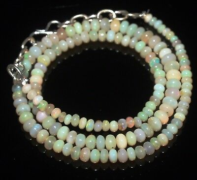 41 Ctw 3-5 Mm 16 Natural Genuine Ethiopian Welo Fire Opal Beads Necklace-R6528