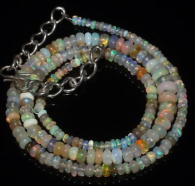 37 Ctw 2-5 Mm 16 Natural Genuine Ethiopian Welo Fire Opal Beads Necklace-R6601