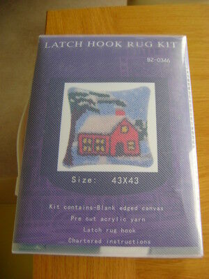 UNUSED       LATCH HOOK RUG KIT      CUSHION COVER   WINTER SCENE    43cm x 43cm