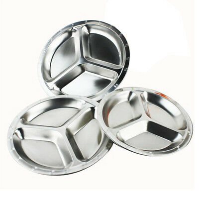Stainless Steel Round Rice Tray Plate Serving Dish Platter Meat Buffet Kitchen