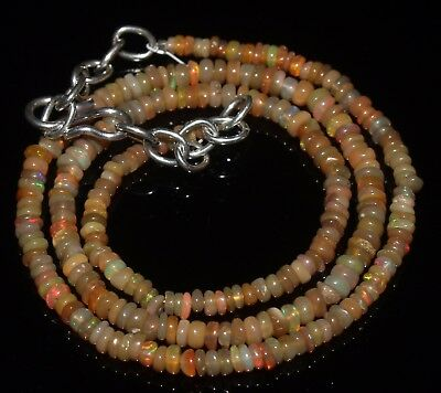 27 Ctw 2-3.5 Mm 15 Natural Genuine Ethiopian Welo Fire Opal Beads Necklace-R6544