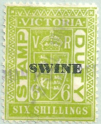 Victoria , 6/- Swine Tax , Revenue / Duty stamps , Fiscally Used . (N)