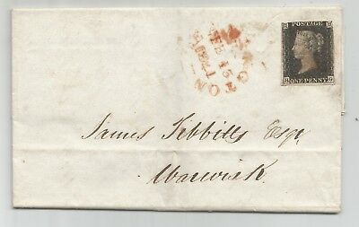 1841 Penny Black (HG) on Cover 2-3 margin.