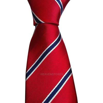 New Red blue stripes Silk Tie Jacquard Woven Classic Necktie Men's Tie hv2n