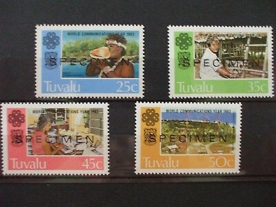 TUVALU 1983 World Communication Year OPT SpecimFull Set of 4vs MNH Cat 0.80 (4Z)