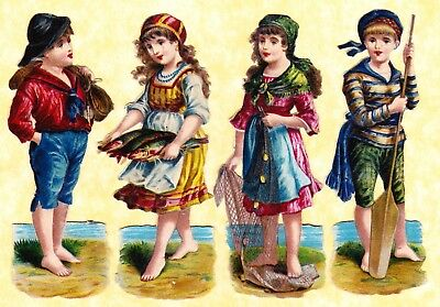 Victorian Scraps ,children At The Sea , Approx 11 X 4 Cm