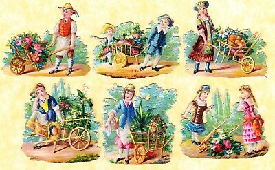 Victorian Scraps ,children And Wheelbarrows, Approx 5 X 5 Cm