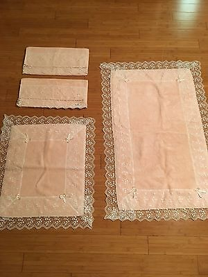 Hand Made Luxury Embellished with Laced Turkish Towel Bath Rug Set - 4 pcs