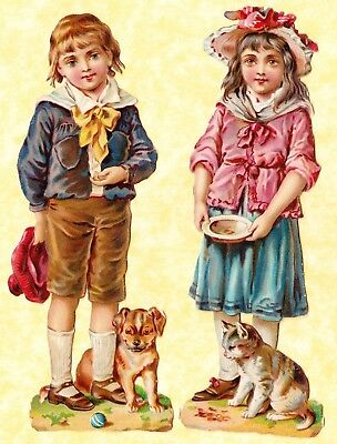 Victorian Scraps,girl With Cat, Boy With Dog,  Approx  17 X 5 Cm