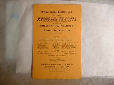 Melrose Rugby Annual Sports Day Rugby Sevens Programme  1956