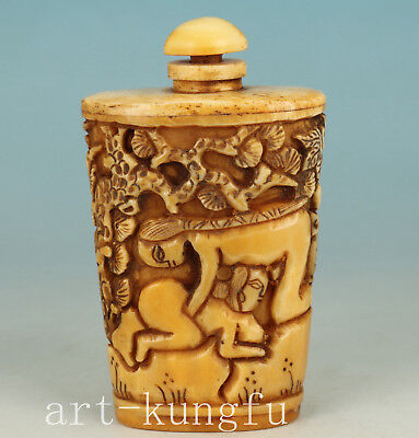 Chinese Collection Handmade Carved Tree Hug Belle Statue big bone Snuff Bottle