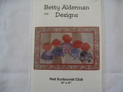 """RED SUNBONNET CLUB  Wallhanging Pattern - 18"""" x 27"""" finished"""