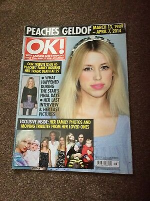 Ok Magazine Peaches Geldof Issue 926 April 2014