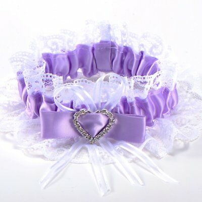 Garter purple lace wedding bride Bow rhinestone heart elastic tape #68 K5J5