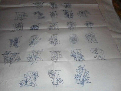 Large Vintage Embroidery Iron on Transfer - Alphabet
