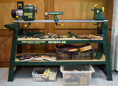 Record Power CL3 wood turning lathe with stand and bowl turning attachment
